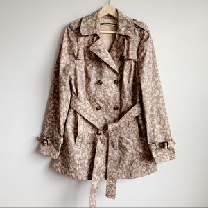 Anthropologie Liberation Leopard Trench Coat XL 14